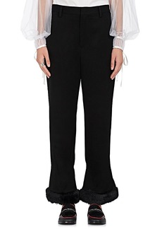 noir kei ninomiya Women's Faux-Fur-Trimmed Wool Pants