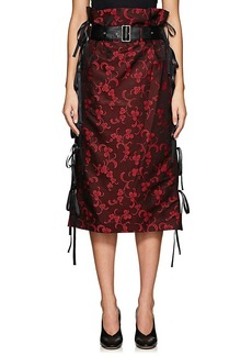 noir kei ninomiya Women's Floral Jacquard Belted Knee-Length Skirt