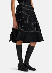 noir kei ninomiya Women's Herringbone-Jacquard Ring-Detailed Full Skirt