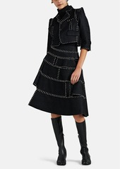 noir kei ninomiya Women's Herringbone-Jacquard Ring-Detailed Jacket