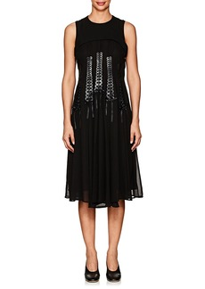 noir kei ninomiya Women's Lace-Front Georgette Sleeveless Dress