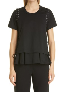 noir kei ninomiya Women's Lace-Up Cotton Ponte Top