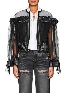 noir kei ninomiya Women's Smocked Tulle Collarless Jacket