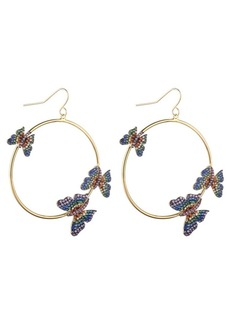 Noir Multi-Colored Cubic Zirconia Butterfly Hoop Earring