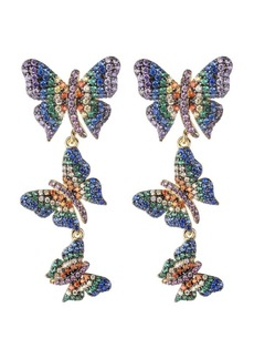 Noir Multi-Colored Cubic Zirconia Butterfly Statement Earring