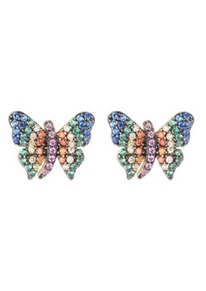 Noir Multi-Colored Cubic Zirconia Butterfly Stud Earring