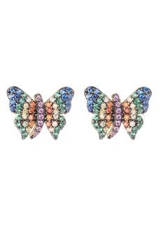 Noir Multi-Colored Cubic Zirconia Butterfly Stud Earring