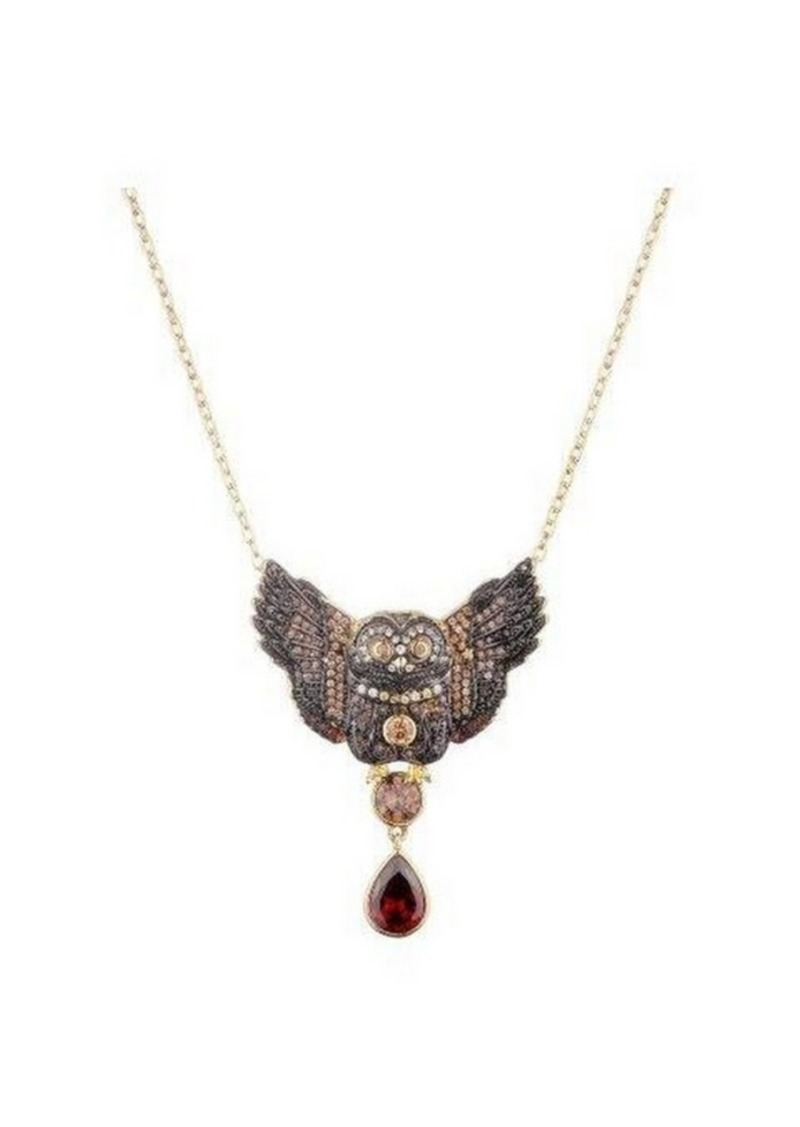 Noir Multi-Colored Cubic Zirconia Owl Necklace