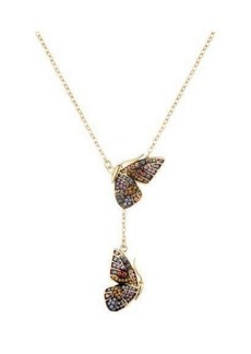Noir Multi-Colroed Butterfly Wing Y Necklace