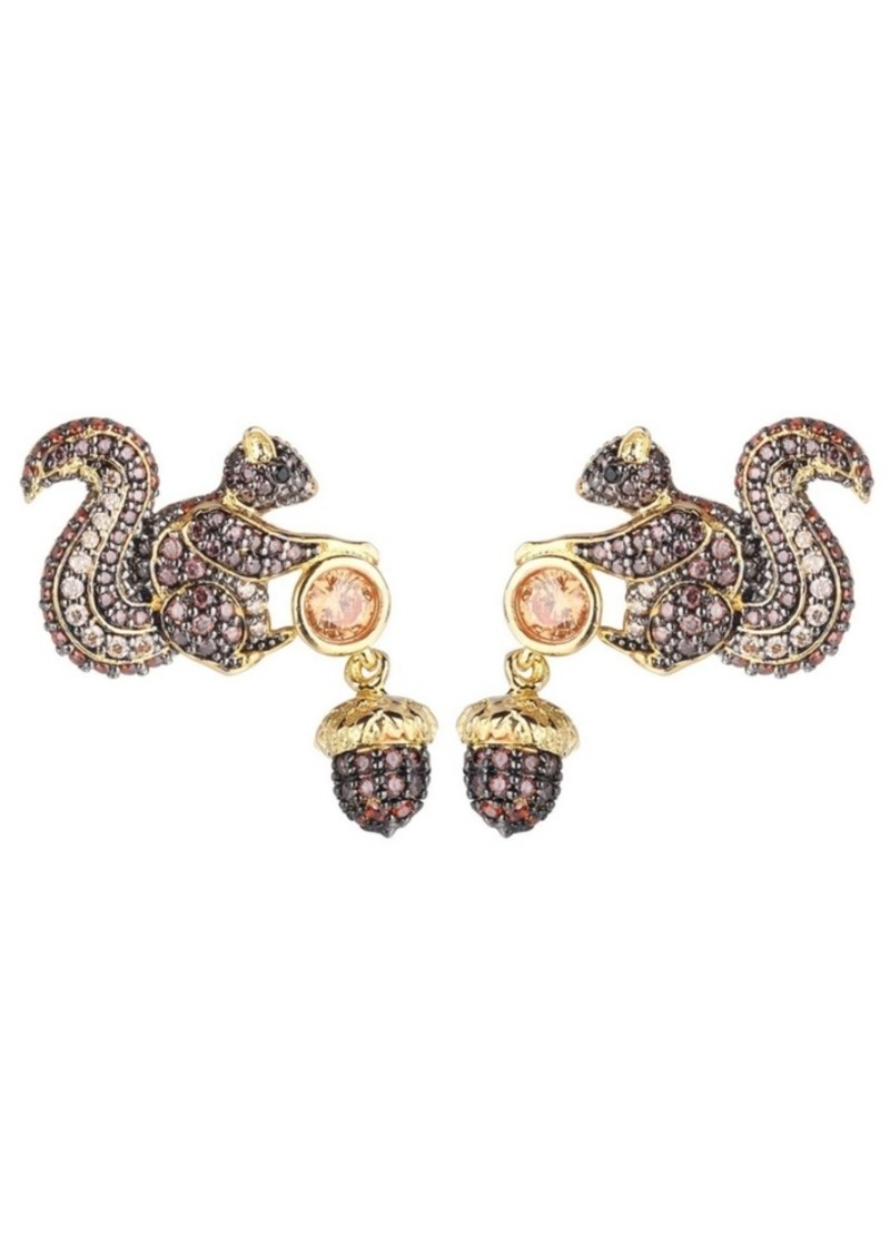 Noir Mutli-Color Cubic Zirconia Squirrel & Acorn Earring