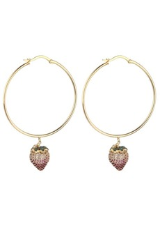 Noir Pink Cubic Zirconia Strawberry Stone Hoop Earring