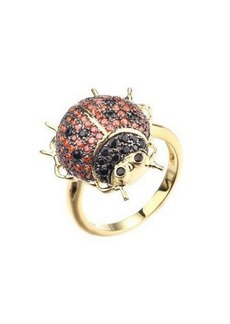 Noir Red/Black Cubic Zirconia Ladybug Ring