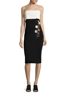 Noir Sachin & Babi Colorblock Floral Embellished Dress