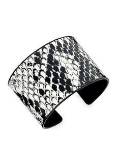 Noir Snakeskin-Printed Open Cuff Bracelet