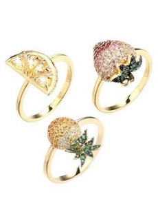 Noir Stackable Cubic Zirconia Fruit Ring Set