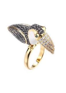 Noir Tucan Ring With Cubic Zirconia Stones