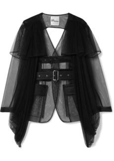 Noir Open-back Belted Tulle Jacket