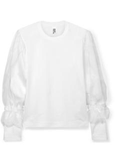 Noir Organza-trimmed Cotton-jersey T-shirt
