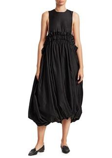 Noir Paperbag Waist Bubble Midi Dress