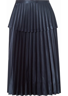 Noir Pleated Satin Midi Skirt