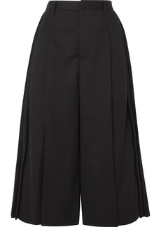 Noir Pleated Wool Culottes