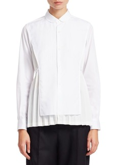 Noir Plisse Tie-Back Button Down Shirt