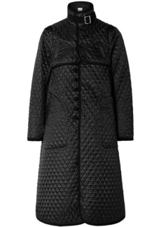 Noir Quilted Canvas-trimmed Houndstooth Satin-jacquard Coat