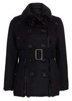 Noir Reversible Faux Fur-Trimmed Peacoat