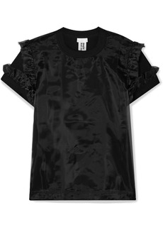 Noir Ruffled Cotton-jersey And Organza T-shirt