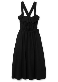 Noir Ruffled Wool Dress