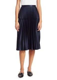 Noir Satin Pleated A-Line Skirt
