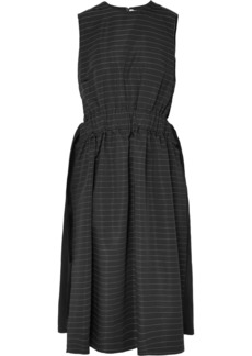 Noir Striped Faille Midi Dress
