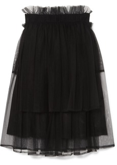 Noir Tiered Tulle Midi Skirt