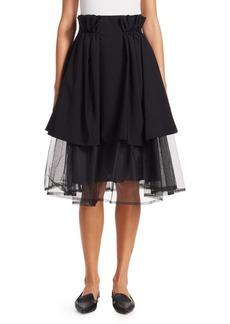 Noir Tiered Tulle Paper Bag Waist Skirt