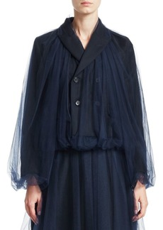 Noir Tulle Overlay Wool Blazer