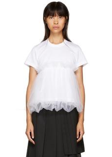 Noir White Tulle Peplum T-Shirt