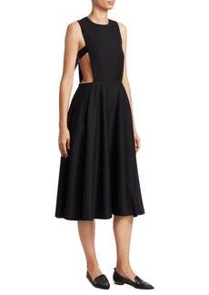 Noir Wool Gabardine Sleeveless A-Line Dress
