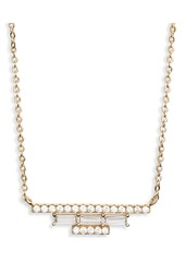 Nordstrom Baguette Cubic Zirconia Pave Bar Necklace