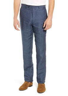 John W. Nordstrom(R) Torino Flat Front Solid Linen Trousers