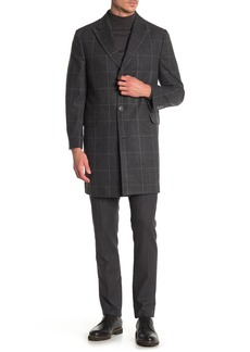 Nordstrom Niles Peak Lapel Windowpane Print Trim Fit Coat