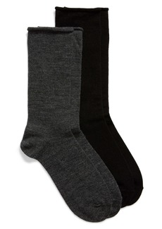 Nordstrom 2-Pack Roll Top Wool Blend Crew Socks