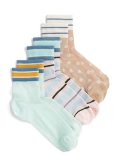 Nordstrom 3-Pack Sheer Stripe Ankle Socks