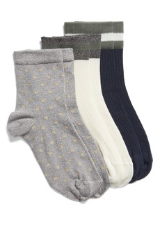 Nordstrom 3-Pack Shine Ribbed Ankle Socks