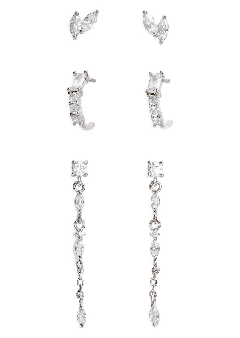 Nordstrom 3-Pair Set Marquise Crystal Stud Earrings