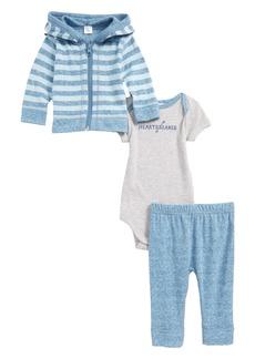Nordstrom Baby Reversible Zip Hoodie, Bodysuit & Pants Set (Baby Boys)