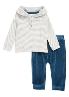 Nordstrom Baby Stripe Henley Hoodie & Velour Pants Set (Baby)