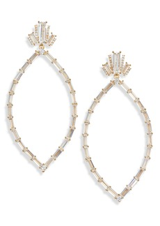 Nordstrom Baguette Cubic Zirconia Open Drop Earrings