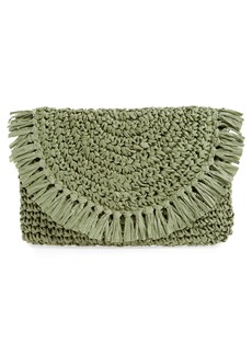 Nordstrom Clara Soft Straw Clutch - Green