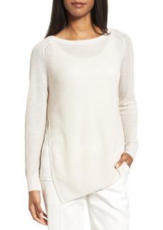 Nordstrom Collection Asymmetrical Linen & Silk Sweater