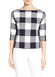 Nordstrom Collection Bateau Neck Gingham Sweater